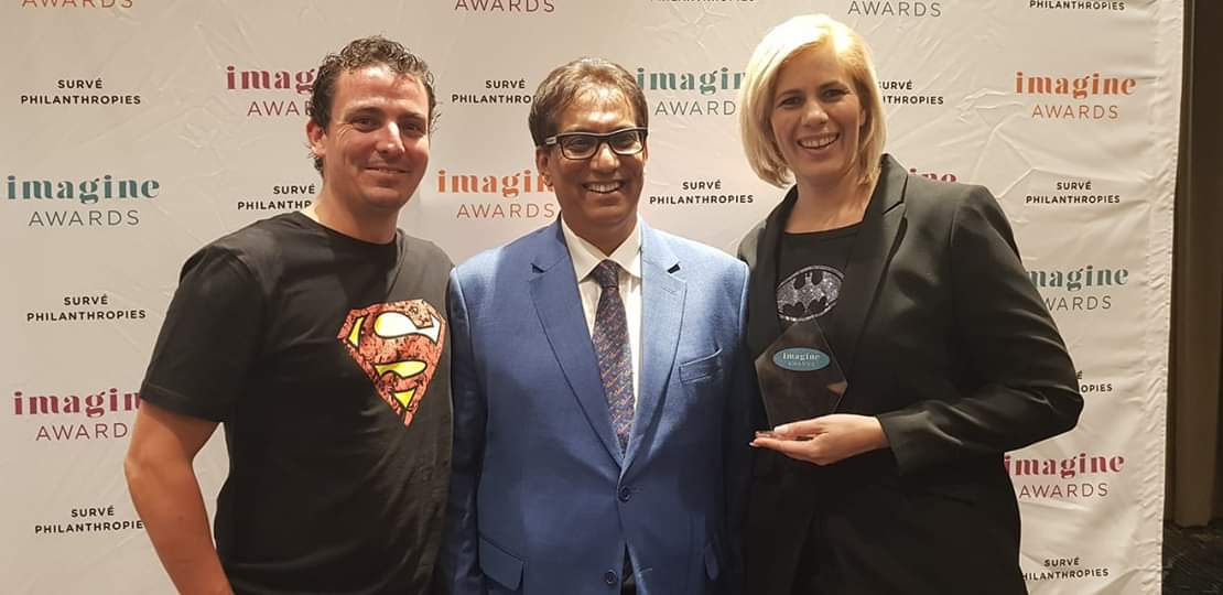 In this photo: Left: Jason Newmark (MD of Futureproof Western Cape), Dr Surve (founder of the Imagine Awards), Right: Lisa Illingworth (Co-founder of Futureproof and CEO)